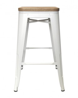 Amelie Stool 66cm – White / Natural Elm Wood