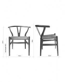 Nordic Y Back Dining Chair – Black/Black Weave