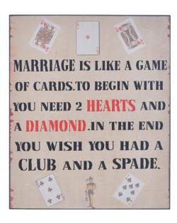 Wall Plaque: 'MARRIAGE CARD GAME'