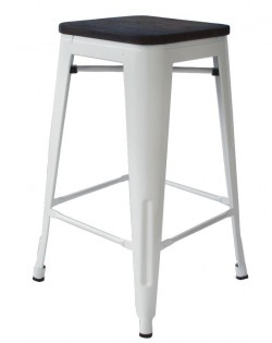Amelie Stool 66cm – White/Elm Wood Seat