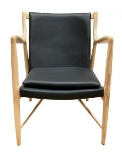Odin Armchair – Leather Black / Ash Wood
