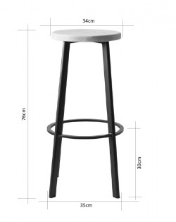 Jonty Barstool 76cm – Matt White / Ash Wood Seat