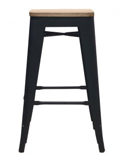 Amelie Stool 66cm – Matt Black / Natural Elm Wood