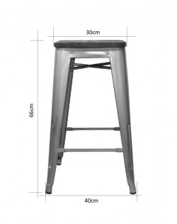 Amelie Stool 66cm – Industrial / Natural Elm Wood