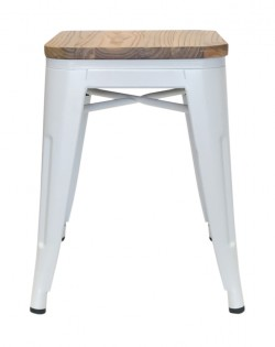 Amelie Stool 46cm – Matt White / Natural Elm Wood