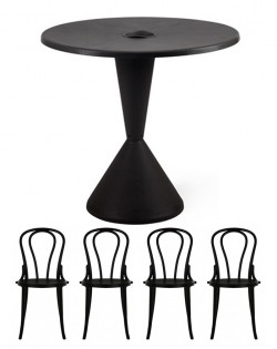 TIG Table and Set of 4 Linz Chairs – Black
