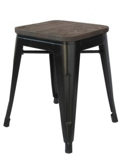 Amelie Stool 46cm – Matt Black / Dark Elm Wood Seat