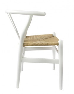 Nordic Y Back Dining Chair – White/Natural Weave