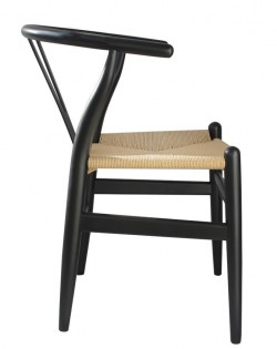 Nordic Y Back Dining Chair – Black/Natural Weave