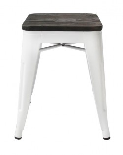 Amelie Stool 46cm – White/Elm Wood Seat