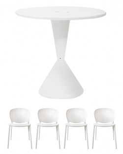 TIG Table and Set of 4 Sonnet Chairs – White