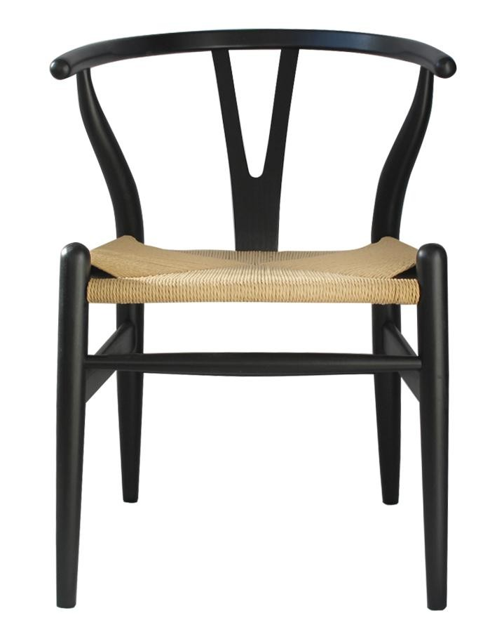 nordic y back dining chair  blacknatural weave zuca