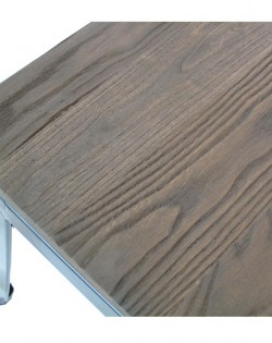 Amelie Stool 46cm – Matt White / Dark Elm Wood Seat