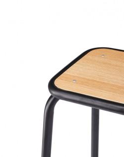 École Bistro Barstool 75cm – Matt Black/Natural Top