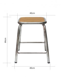 Ecole Stool 44cm – Matt Black/Natural Top