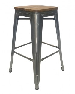 Amelie Stool 66cm – Industrial / Natural Elm Wood