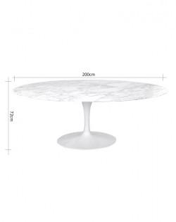 Replica Eero Saarinen Oval Tulip Dining Table – White Marble