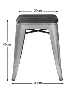 Amelie Industrial Stool 46cm – Elm/Wood Seat