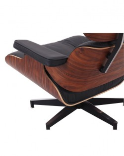 The Lounge Chair & Ottoman – Premium Black/Rosewood