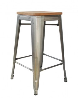 Amelie Stool 75cm – Industrial/Ash Wood Seat