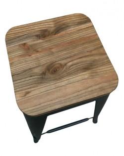 Amelie Stool 66cm – Matt Black / Natural Elm Wood