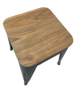 Amelie Stool 46cm – Matt Black / Natural Elm Wood