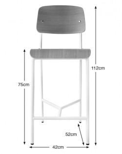 Replica Jean Prouve Standard Stool – White/75cm