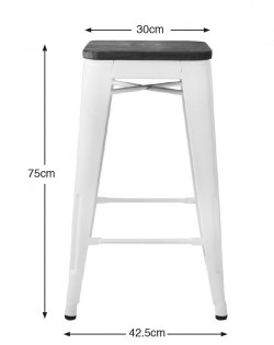 Amelie Stool 75cm – White/Elm Wood Seat