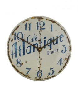 French Café Biaritz Enamel Wall Clock