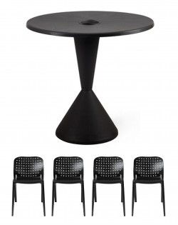 TIG Table and Set of 4 Abuso Chairs – Black