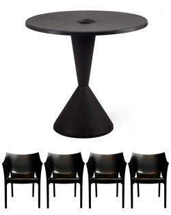 TIG Table and Set of 4 Reid Chairs – Black