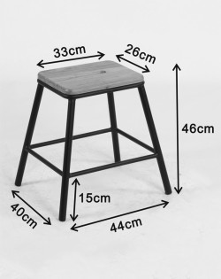 York Stool 46cm – Matt Black