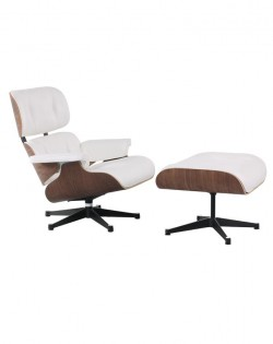 The Lounge Chair & Ottoman Premium – White/Walnut
