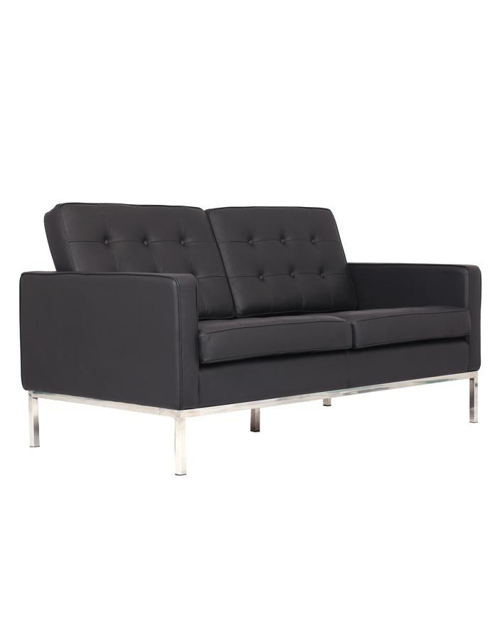 Replica Florence Knoll 2 Seater Sofa Black Leather Zuca