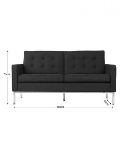 Replica Florence Knoll 2 Seater Sofa – Charcoal
