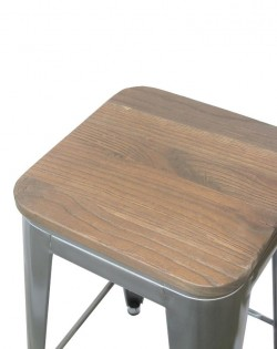 Amelie Stool 66cm – Industrial / Dark Elm Wood