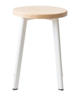 Jonty Stool 46cm – White / Ash Wood Seat