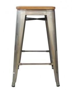 Amelie Stool 66cm – Industrial /Ash Wood Seat