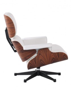 The Lounge Chair & Ottoman – Premium White/Rosewood
