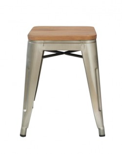 Amelie Industrial Stool 46cm – Ash/Wood Seat
