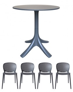 Canard Table and Set of 4 Sonnet Chairs – Charcoal