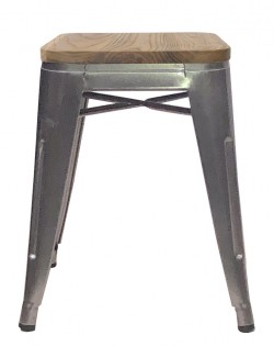 Amelie Industrial Stool 46cm – Natural Elm Wood