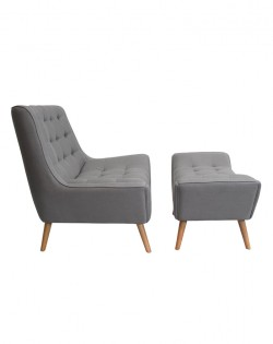 Fitzgerald Chair and Ottoman – Dove Grey