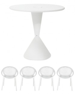 TIG Table and Set of 4 TIG Chairs – White