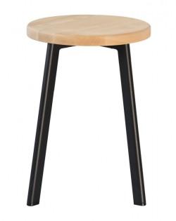 Jonty Stool 46cm – Matt Black / Ash Wood Seat