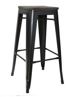 Amelie Stool 66cm – Matt Black/Elm Wood Seat