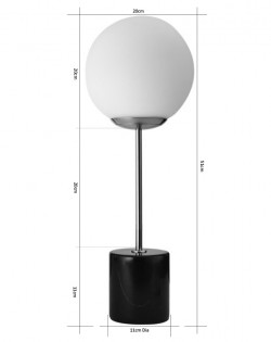 Globe Top Table Lamp – Black Marble