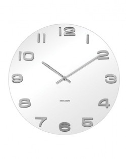 Wall Clock Vintage White Glass