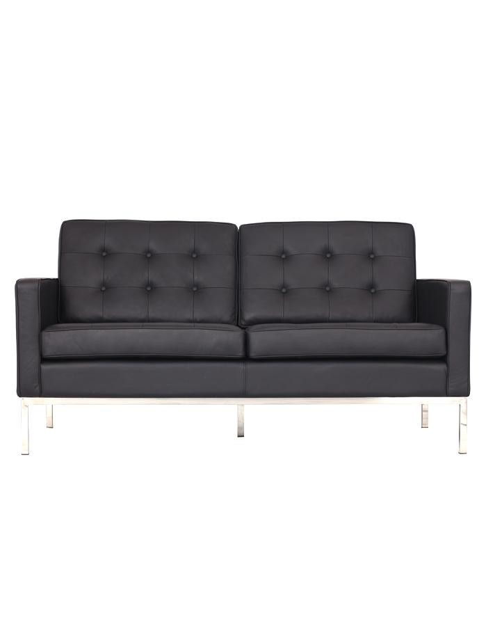Replica Florence Knoll 2 Seater Sofa Black Leather
