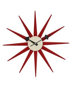 Replica George Nelson Sunburst Wall Clock – Red